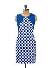 Blue And White Checkered Print Cut-sleeved Dress - AKYRA