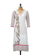 White Georgette Kurta With Multi-coloured Dot Prints On The Sleeve - AKYRA