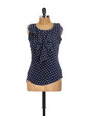 Navy Blue Polka Dot Printed  Frill Top - AKYRA