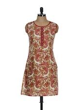 Red Paisley Print Sleeveless Kurti - Eavan