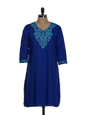 Royal Blue Embroidered Kurti - Eavan