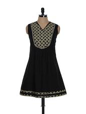 Sleeveless Black A-line Kurti - Eavan