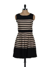 Beige And Black Striped Dress - Eavan