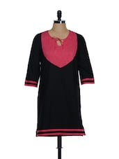 Black Kurti With Pink Polka Dot Patch - Eavan