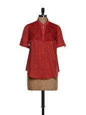Red Roll-up Sleeved Shirt With A Lace Yoke - Being Fab