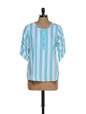 Trendy Sky Blue And White Striped Top - Being Fab