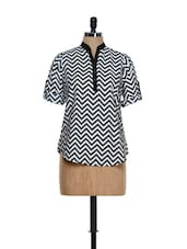 Trendy Black And White Chevron Print Top - Being Fab