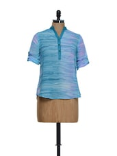Trendy Light Blue Roll-up Sleeved Crepe Top - Being Fab