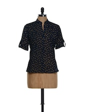 Navy Blue Roll-up Sleeved Printed Georgette Top - Being Fab
