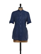Dark Blue Roll-up Sleeved Cotton Long Top - Being Fab