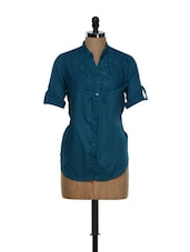 Trendy Aqua Blue Roll-up Sleeved Cotton Top With A Net Yoke - Being Fab