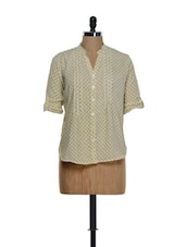 Beige Printed Roll-up Sleeved Cotton Top - Being Fab