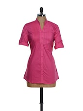 Pink Roll-up Sleeved Cotton Top With A Belt At The Back - Being Fab