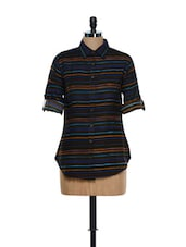 Black Multi-coloured Striped Collar Neck Cotton Shirt - Being Fab