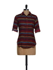 Maroon Multi-coloured Striped Collar Neck Cotton Shirt - Being Fab