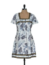 White And Grey Floral Kurti - Needle Value