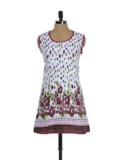 White And Pink Floral Kurti - Needle Value
