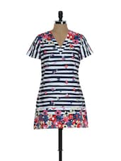 Navy Blue And White Striped Kurti - Needle Value