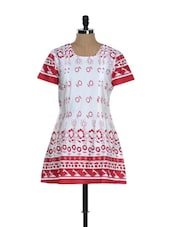 White And Red Printed Kurti - Needle Value