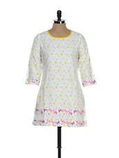 White And Yellow Polka-Dotted Kurti - Needle Value