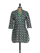 Taupe And Mint Printed Kurti - Needle Value