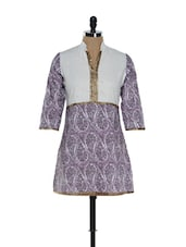 White And Purple Printed Kurti - Needle Value
