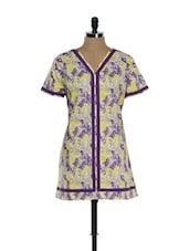 Purple And Yellow Printed Kurti - Needle Value