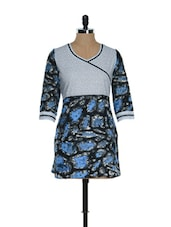 Grey And Blue Printed Kurti - Needle Value