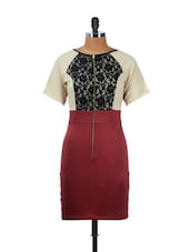 Elegant Maroon Lace Dress - CHERYMOYA