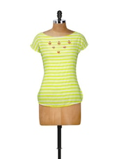 Neon Yellow And White Striped And Embellished Top - CHERYMOYA