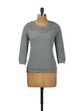 Grey Lace Top - By