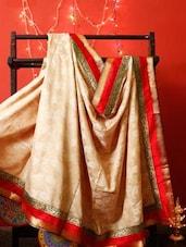 Beige And Red Jacquard Chanderi Saree - RiniSeal