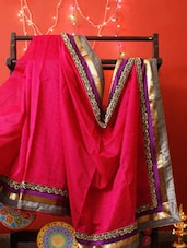 Pink Chanderi Saree With Zari And Beads - RiniSeal