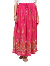 Jaipuri Cut Bright Pink Maxi Skirt - Ruhaan's