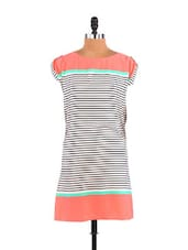Peach And White Stripe Dress - Free Spirited