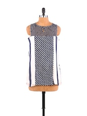 Geometric Print Panelled Georgette Top - Free Spirited