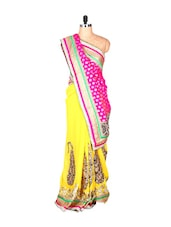 Yellow And Pink Jacquard And Georgette Sari With Zari Embroidery, With A Matching Blouse Piece - Saraswati