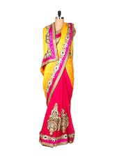 Yellow And Bright Pink Jacquard Saree With Zari Embroidery, With A Matching Blouse Piece - Saraswati