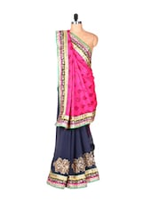 Midnight Blue And Pink Jacquard And Georgette Saree With Zari Embroidery, With A Matching Blouse Piece - Saraswati