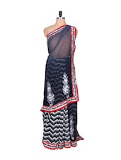 Grey And White Chevron Print Art Silk Saree, With Matching Blouse Piece - Saraswati
