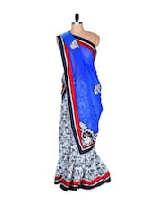 White And Blue Floral Art Silk Saree, With Matching Blouse Piece - Saraswati