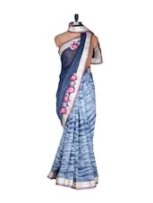 Blue And White Art Silk Saree, With Matching Blouse Piece - Saraswati