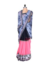 Greyish Blue And Pink Printed Art-silk Saree, With Matching Blouse Piece - Saraswati