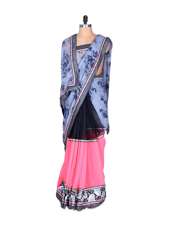 Greyish Blue And Pink Printed Art-silk Saree, With Matching Blouse Piece - Saraswati