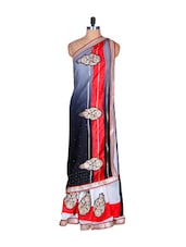 White, Grey And Black Art Silk Saree With A Red Border, With Matching Blouse Piece - Saraswati