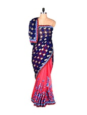 Blue And Pink Printed Art Silk Saree, With Matching Blouse Piece - Saraswati