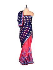 Blue And Pink Printed Art Silk Saree, With Matching Blouse Piece - Saraswati