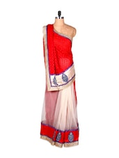 Red And Cream Art Silk Saree With Thread Embroidery, With Matching Blouse Piece - Saraswati
