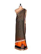 Black Art Silk Saree With A Grey And Orange Base And Thread Embroidery, With Matching Blouse Piece - Saraswati