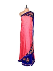 Pink And Blue Art Silk Sari With Thread  Embroidery Work, With Matching Blouse Piece - Saraswati